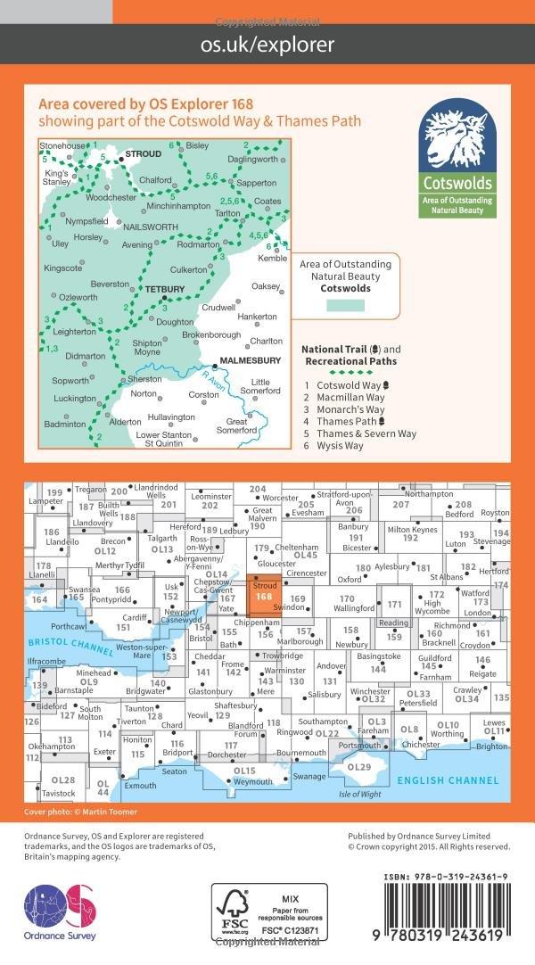 Ordnance Survey Explorer 168 Stroud Tetbury /& Malmesbury Map With Digital Version