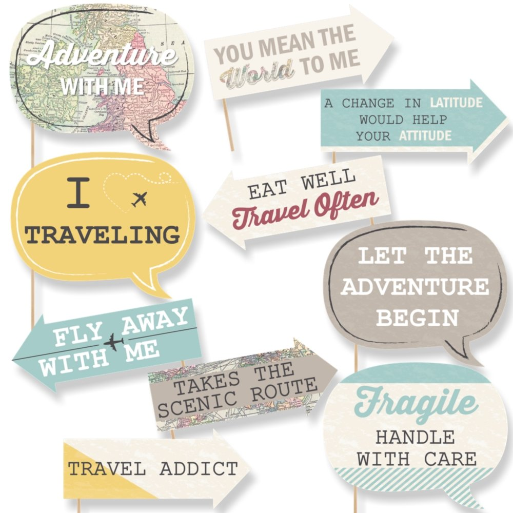 Big Dot of Happiness Funny World Awaits - Travel Themed Photo Booth Props Kit - 10 Piece