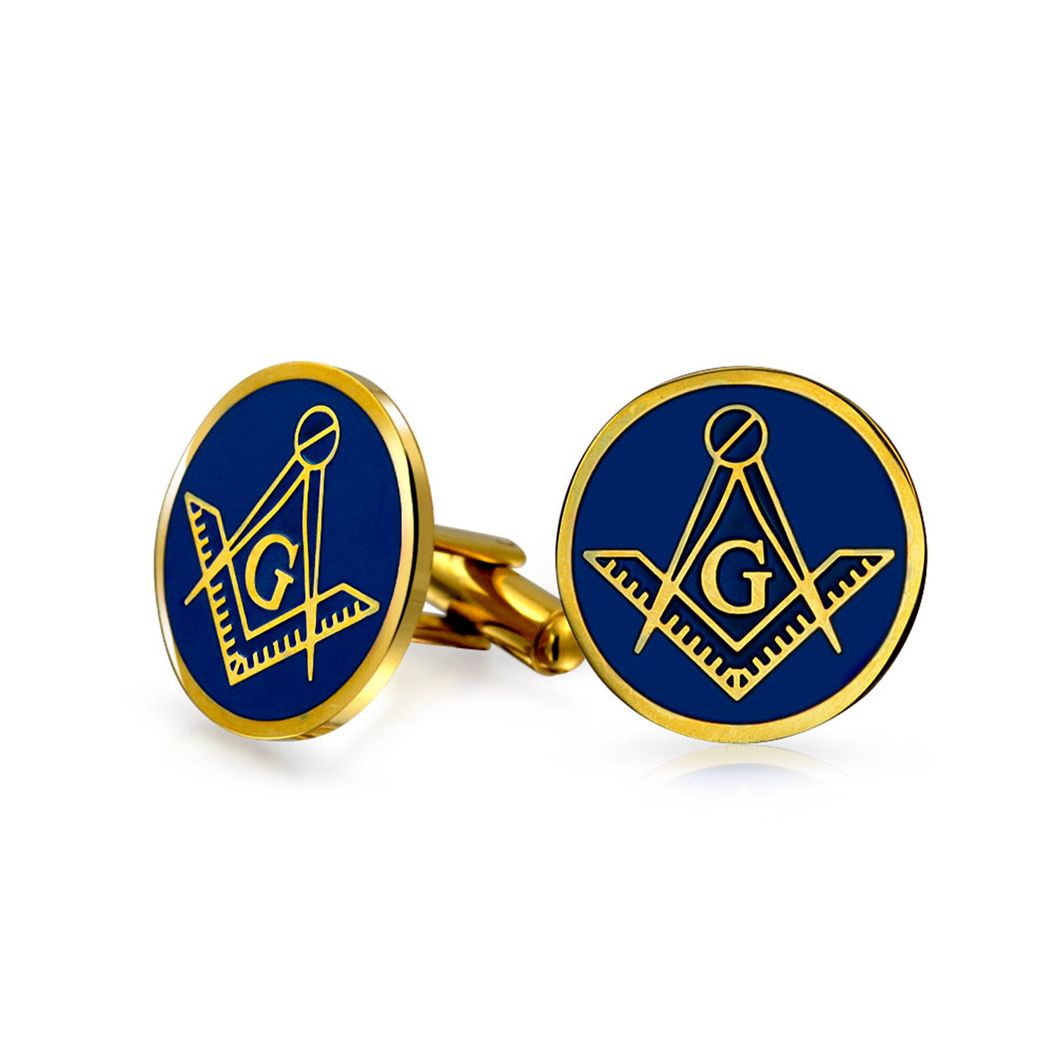 Bling Jewelry Gold Plated Steel Blue Enamel Freemason Masonic Symbol Cufflinks SGD-KKT108