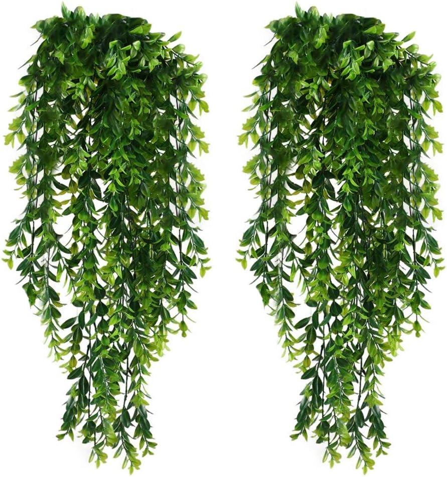 KingYH 2 Piezas 85cm Plantas Colgantes Hiedra Verde Artificial Plastica Verde Follaje Vid Decoración para Colgar Cestas y Paredes Colgantes Decoración de Jardín en Casa