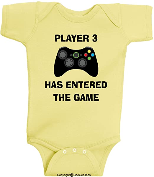 26b324fb916 BeeGeeTees Player 3 Has Entered The Game Funny Baby Onesie Gaming Gamer
