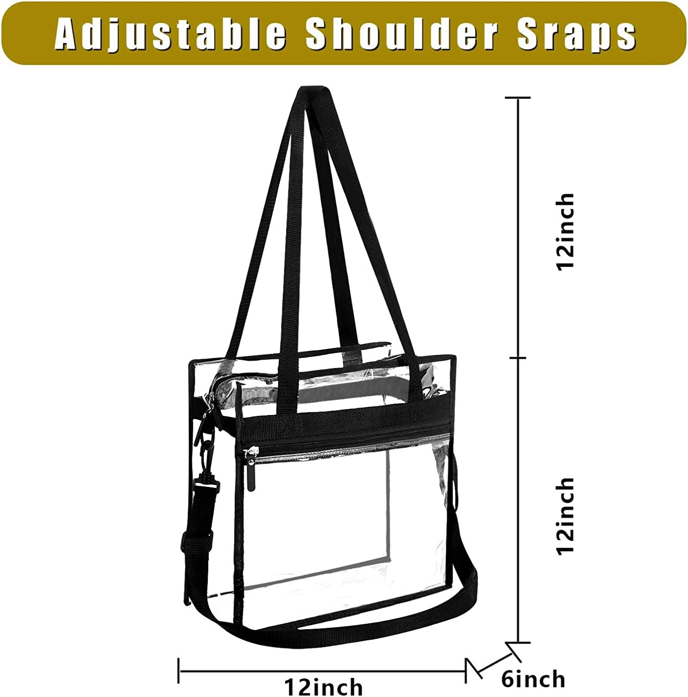 Bagail Clear Bag NFL /& PGA Stadium Approved Tote Bags with Front Pocket and Adjustable Shoulder Strap