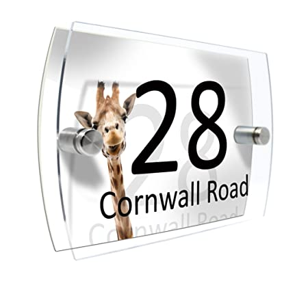 Funny Giraffe CS Printing House Number Sign Plaque Garden Glass Effect Acrylic Sign Door Plate Marble Wall Display 2 Part Acrylic