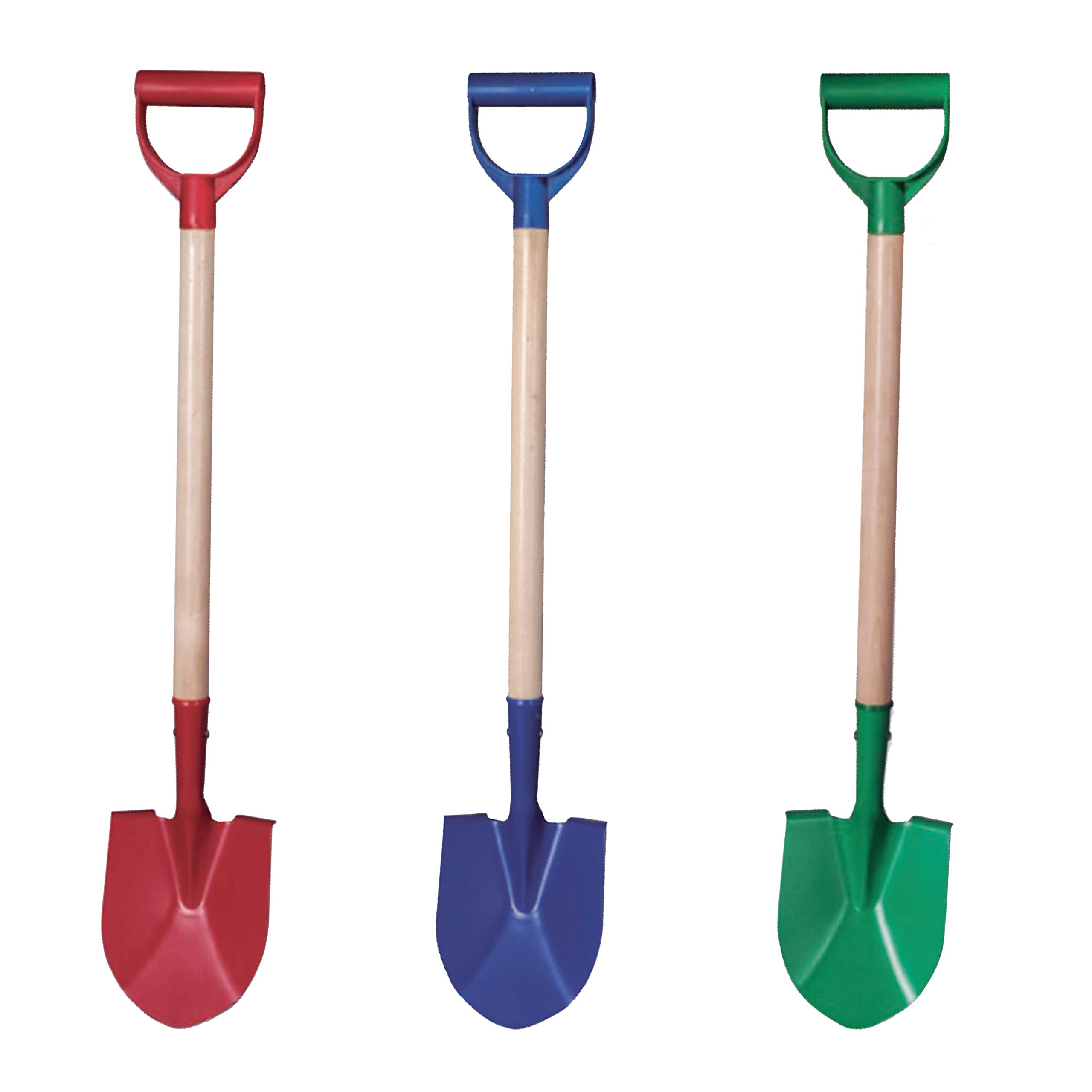 Beachgoer Pack of 3 32-Inch Metal Large Heavy Duty Beach Kids Wood Sand Shovels with Plastic Handle - 3 Color Pack Red Blue Green Sand Toys by Beachgoer