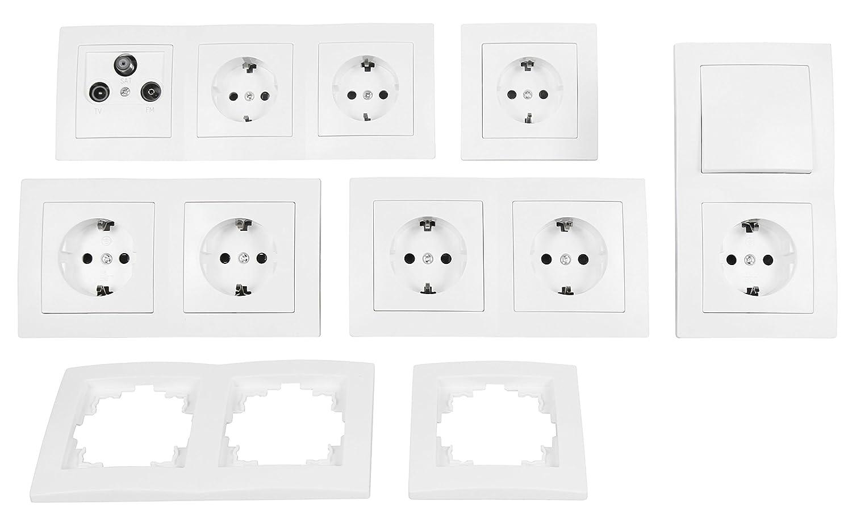 'Interruptor y juego de enchufes Flair'Trabajo habitaciones, 17 piezas, color blanco 17piezas ETT 1534843