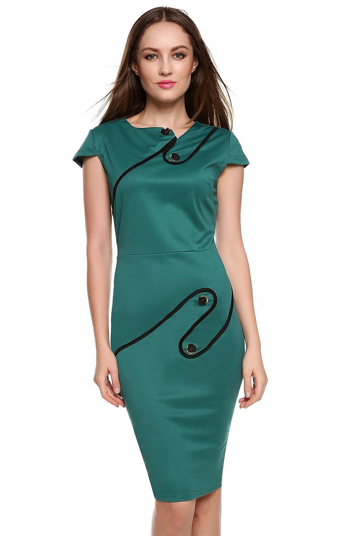 ACEVOG Damen Etuikleid Pinup Tunika Pencil Business Kleid Bodycon Kleid Bleistiftkleid Knielang