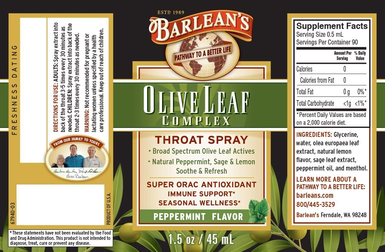 Barlean s Organic Oils Olive Leaf Complex Throat Spray, Peppermint Flavor 1.5-Ounce Pack of 2