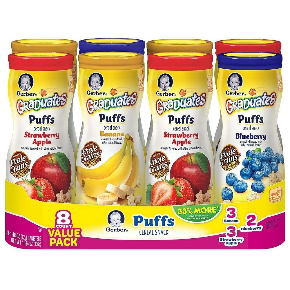 Gerber Graduates Puffs Cereal Snack, Value Variety Pack 1.48 oz, 8 ct. by Gerber