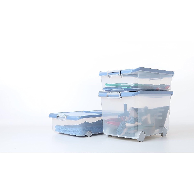 Tatay 1151207 Caja de Almacenamiento Multiusos Bajo Cama con Tapa, 32 l de Capacidad, Plástico Polipropileno Libre de BPA, Azul, 40 x 56 x 17,5 cm: ...