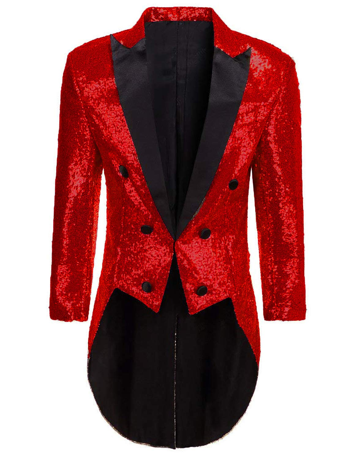 Men Sequin Dress Coat Swallowtail Dinner Party Red Wedding Blazer Suit Jacket for Circus by DGMJDFKDRFU