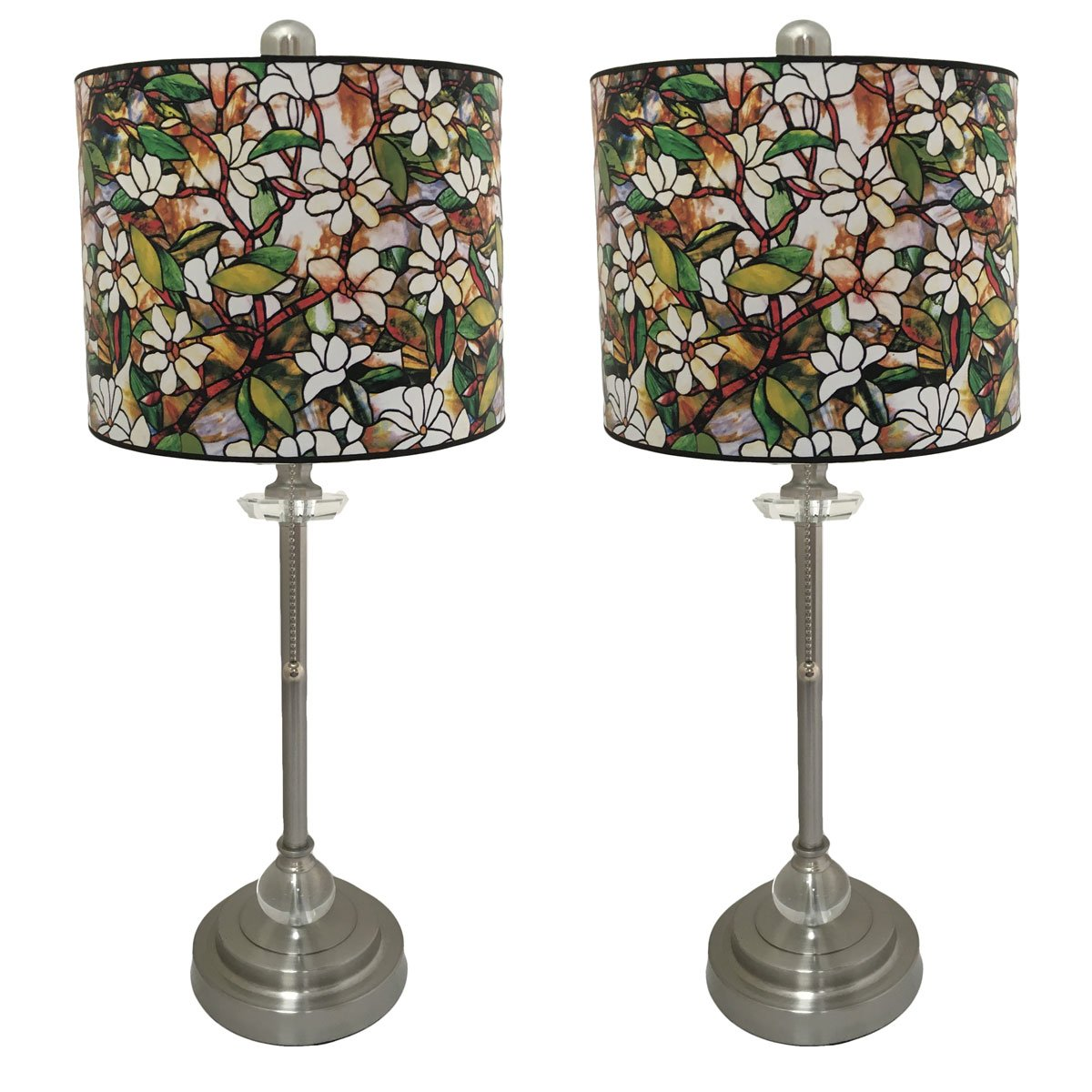 Royal Designs 28'' Crystal and Brushed Nickel Buffet Lamp with Magnolia Stained Glass Design Hard Back Lamp Shade, Set of 2 by Royal Designs, Inc