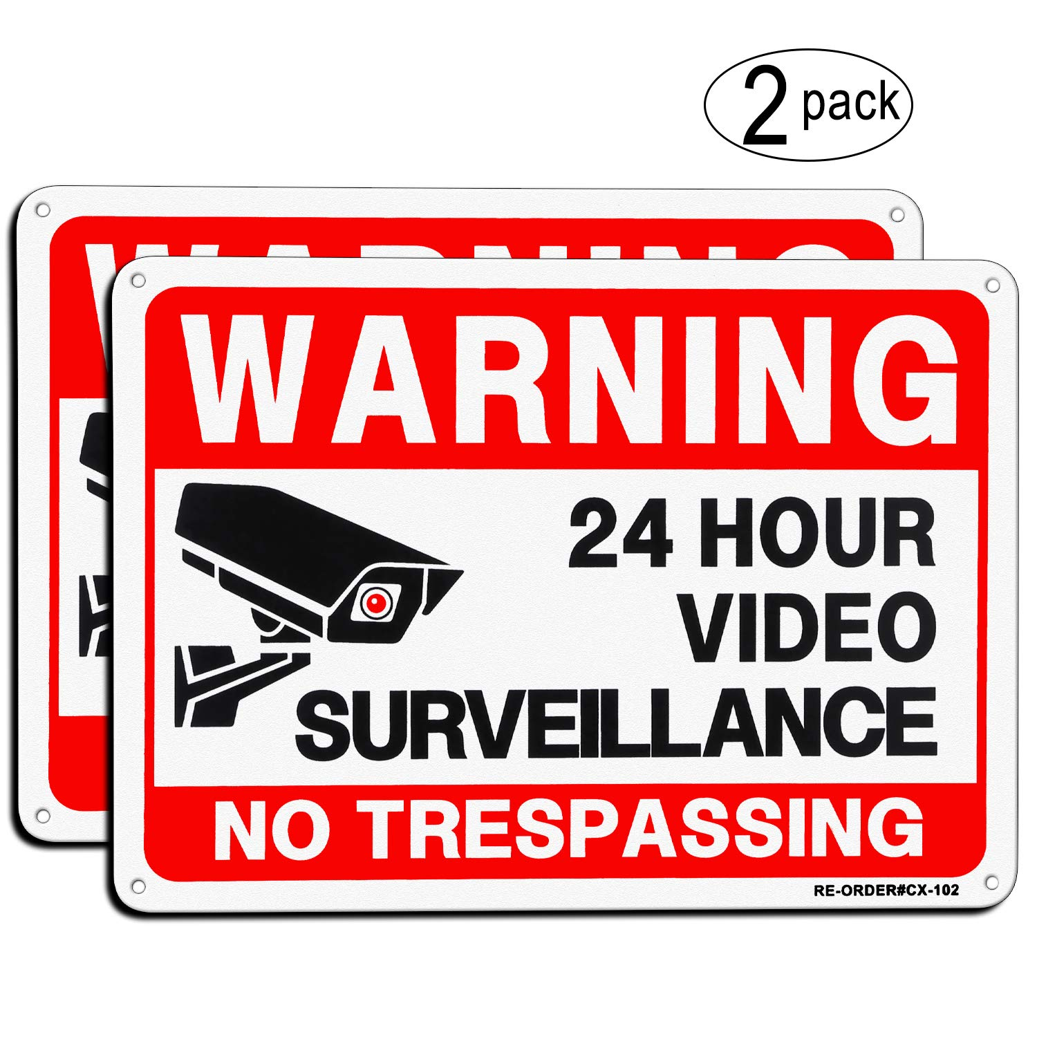 "Video Surveillance Sign 2 Pack, MUXYH No Trespassing Sign, UV Protected & Waterproof, 10""x 7"" Aluminum Metal Reflective Warning Signs Indoor Or Outdoor Use for Home Business CCTV Security Camera"