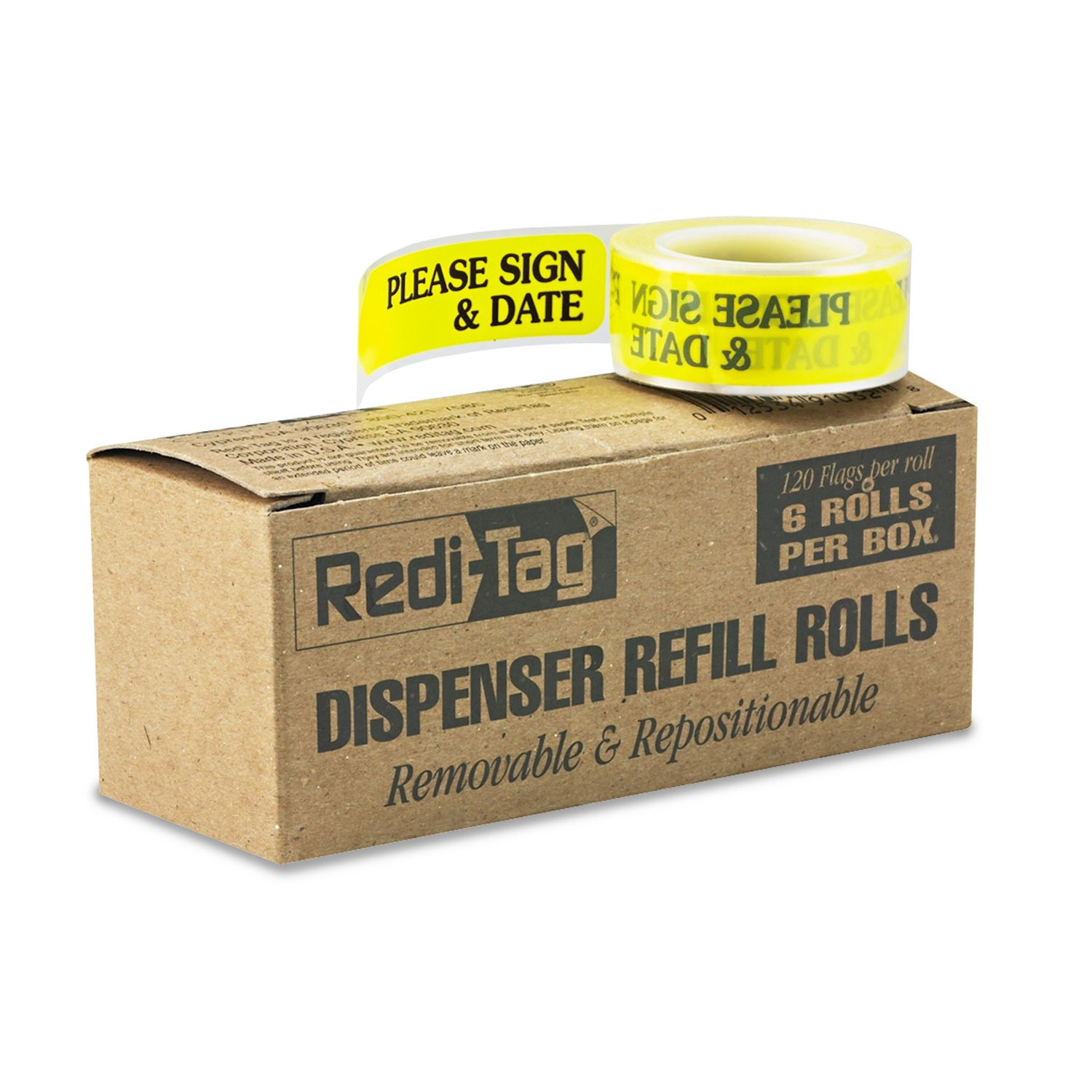 Redi-Tag® Message Arrow Flag Refills, ''Please Sign & Date'', Yellow, Six Rolls of 120 Flags by Redi-Tag