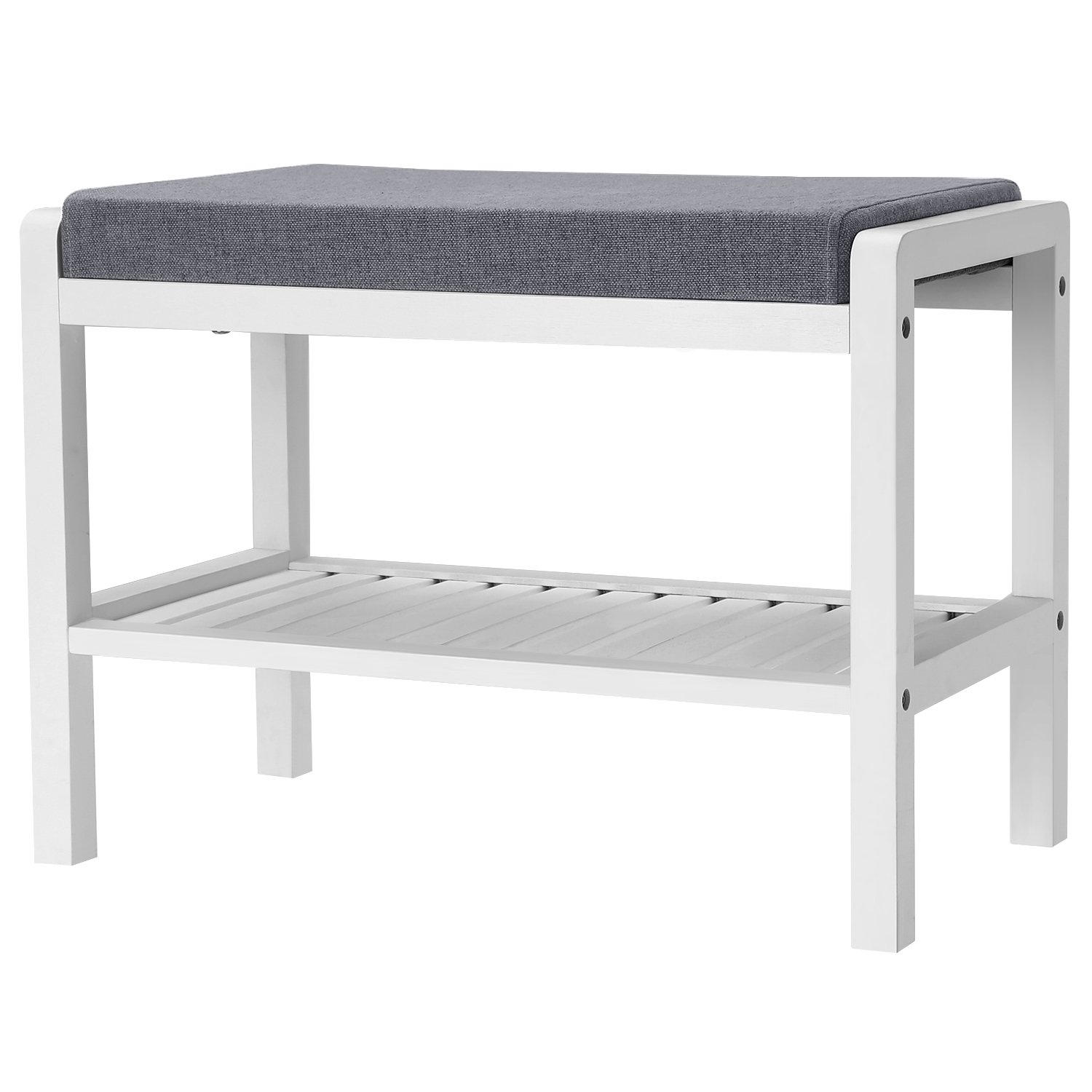 SONGMICS Shoe Rack Bench with Cushion Upholstered Padded Seat, Storage Shelf, Shoe Organizer, Holds Up to 350 Lb, Ideal for Entryway Bedroom Living Room Hallway Garage Mud Room White ULBS65WN by SONGMICS
