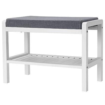c77ab48eff7c Amazon.com  SONGMICS Shoe Rack Bench with Cushion Upholstered Padded ...