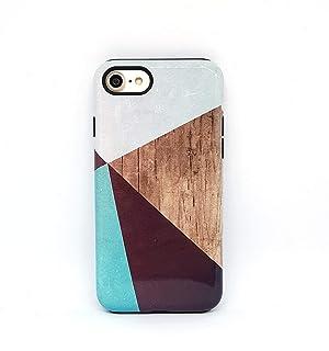 Geometrico Legno cover case custodia per iPhone 5, 5s, SE, 6, 6s, 7, 7 plus, 8, 8 plus, X, XS, per Galaxy S6, S7, S8