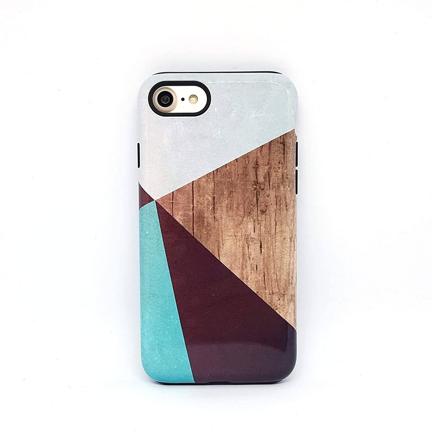 Geometrico Legno cover case custodia per iPhone 5, 5s, 6, 6s, 7, 7 plus, 8, 8 plus, X, XS, per Galaxy S6, S7, S8