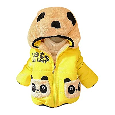 BPrince Kids Quilted Zip Up Fleece Panda Applique & Lining Hooded Winter Jacket