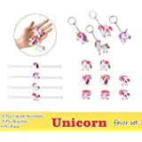 Unicorn Party Favor Set, Unicorn Toy Novelty Birthday Party Favors Supplies for Kids Girls, Bracelets Keychains and Rings ( Pack of 48 )