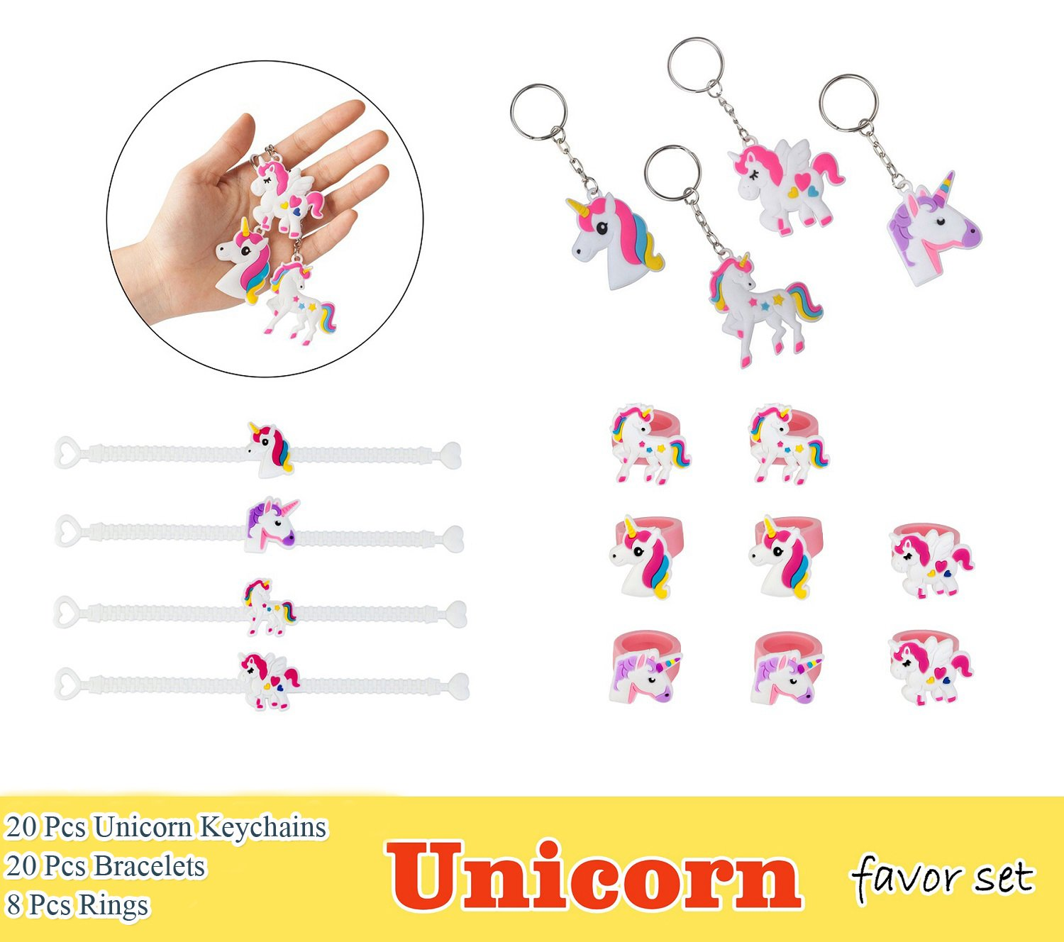 Unicorn Party Favor Set, Unicorn Toy Novelty Birthday Party Favors Supplies for Kids Girls, Bracelets Keychains and Rings (Pack of 48)
