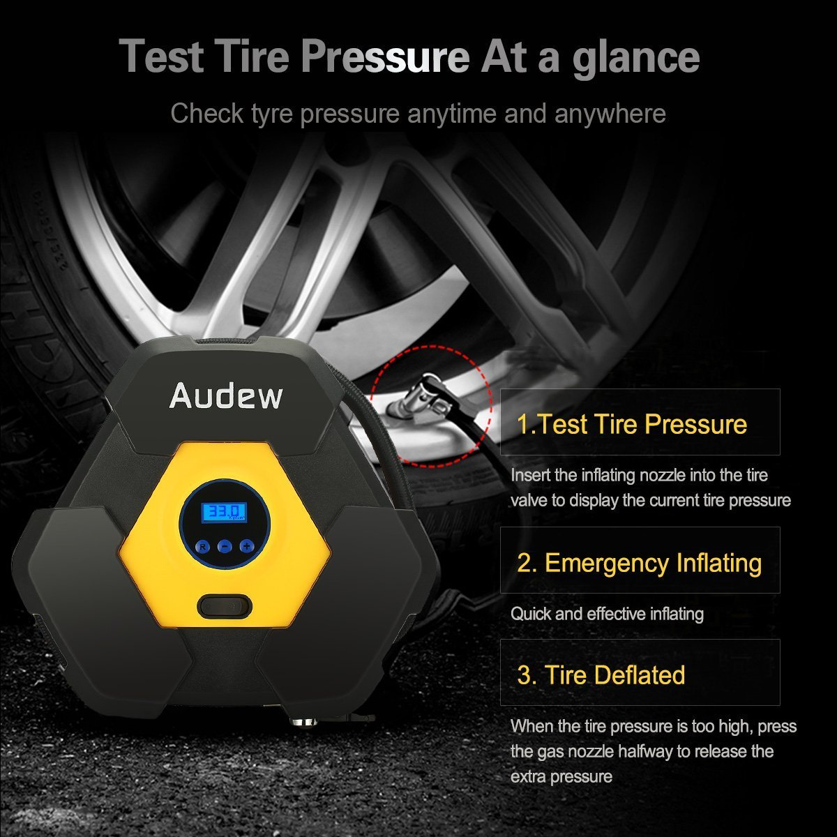 4. AUDEW Portable Mini Air Compressor Pump -  Best Mini Air Compressor