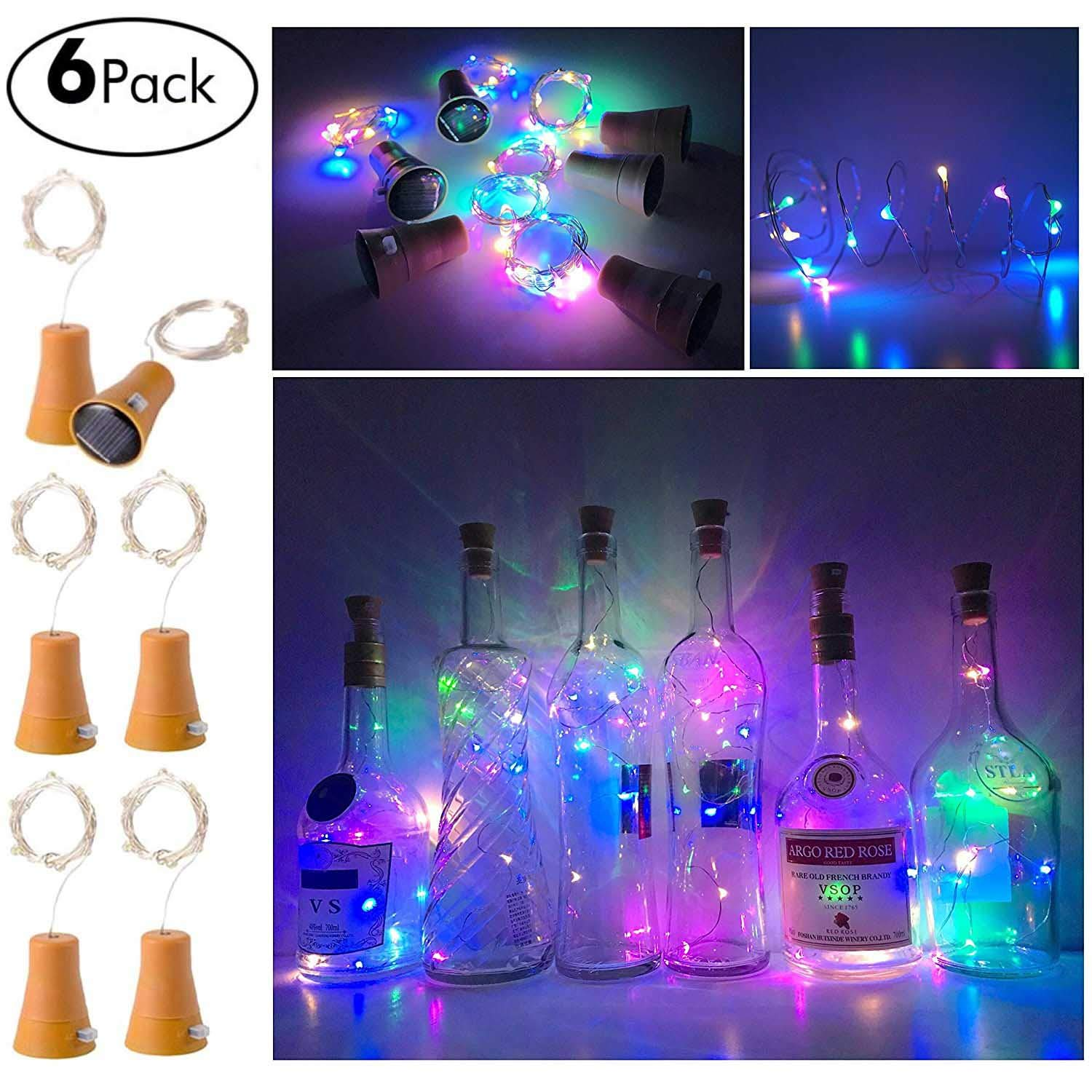 6 Pack Solar Powered Wine Bottle Lights, 10 LED Waterproof Colorful Copper Cork Shaped Lights for Wedding Christmas, Outdoor, Holiday, Garden, Patio Pathway Decor by Ninight