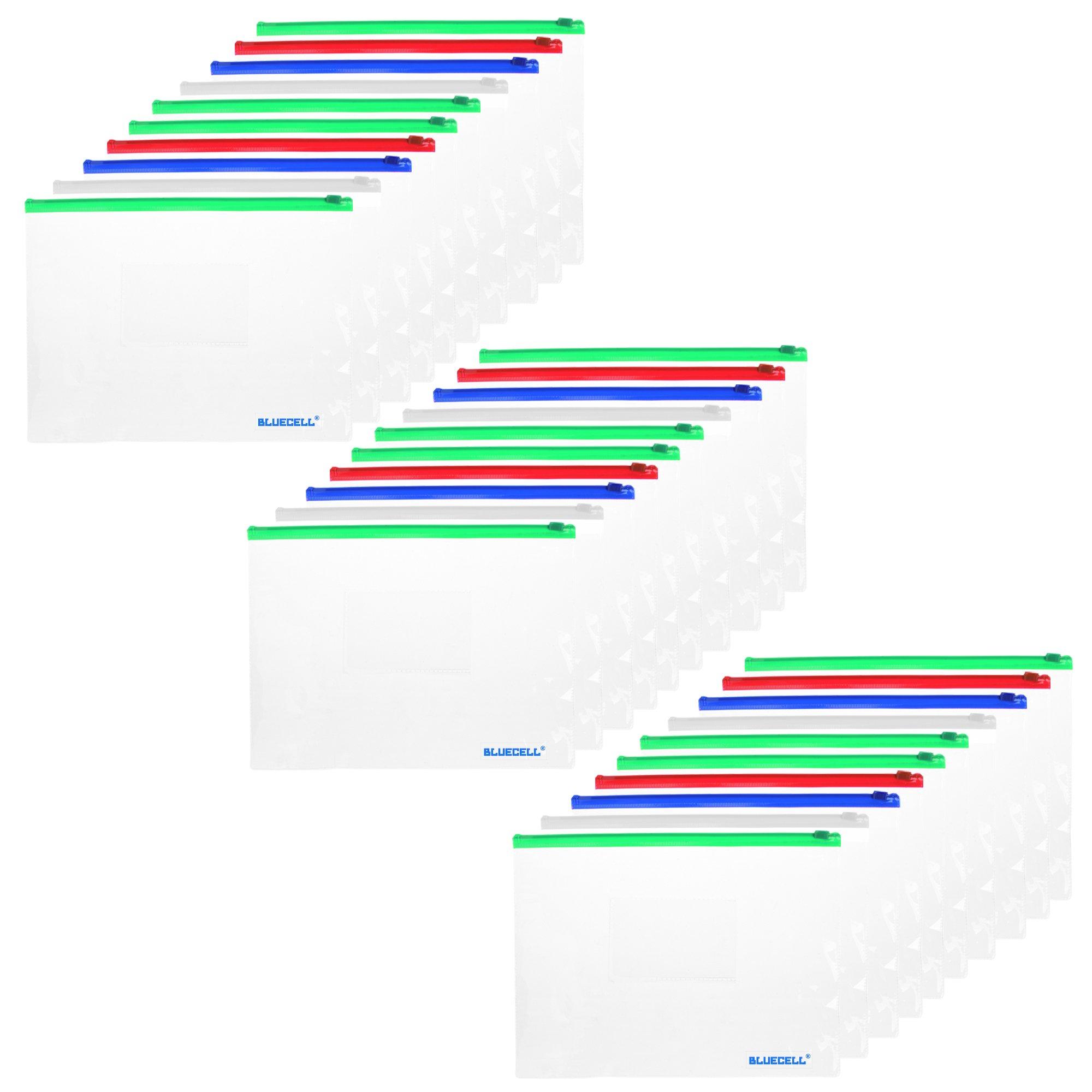 BCP 30pcs Clear Color Zip Up PVC A5 Paper Document File Bill Zipper Bag Pencil Pouch