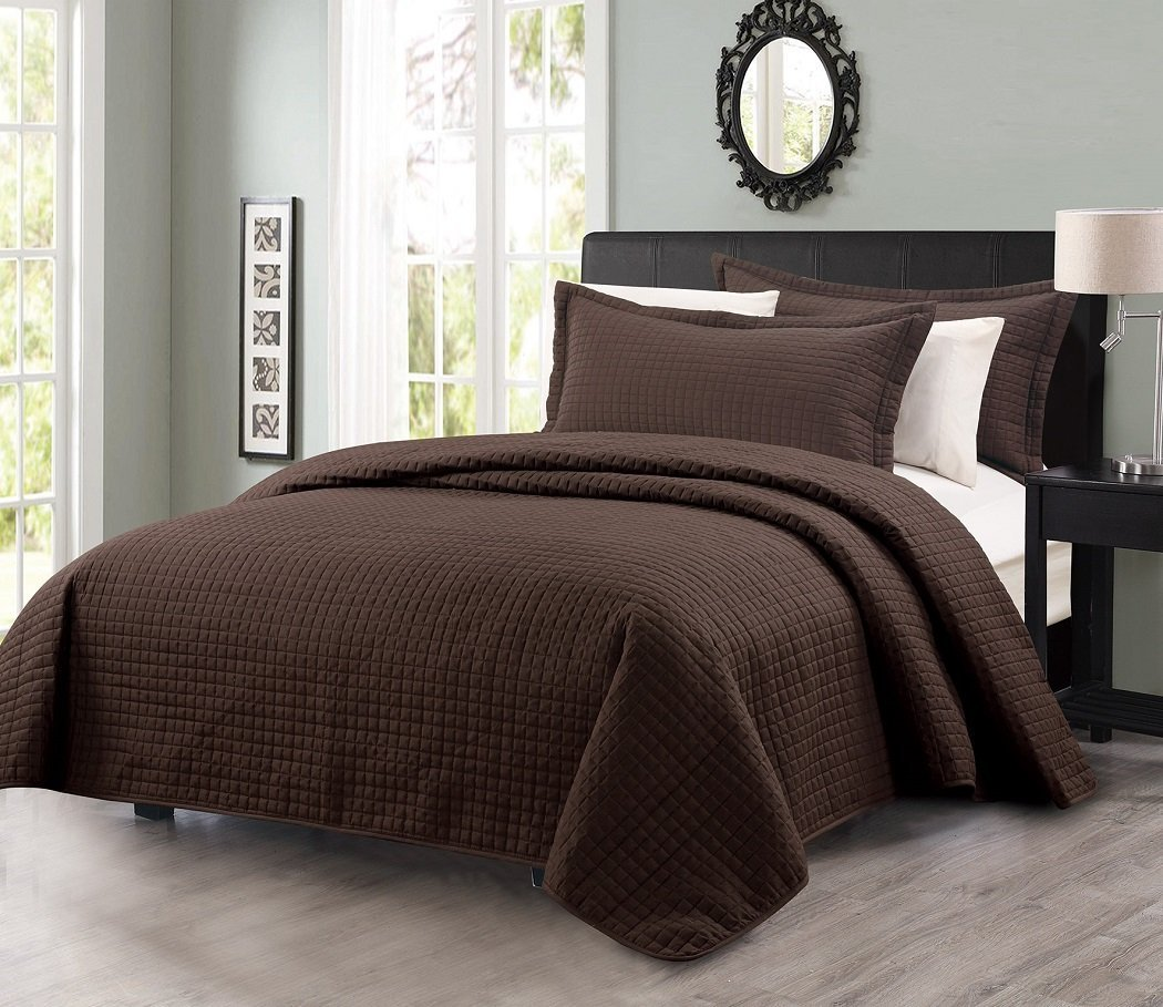 3pcs Solid Modern Quilted Coverlet Set Queen, Chocolate