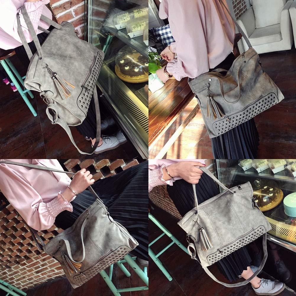 3d22318e7121f Fishbag Handtasche Damen Große Taschen Umhängetasche Weekender Shopping  Arbeitstasche Vintage Nieten Coole Mode Herbst Winter (Grau)  Amazon.de   Schuhe   ...
