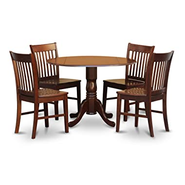 East West Furniture DLNO5-MAH-W 5-Piece Kitchen Table 4 Chairs Set, Mahogany Finish, Wood Seat