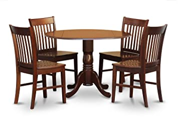 East West Furniture DLNO5 MAH W 5 Piece Kitchen Table And 4 Chairs