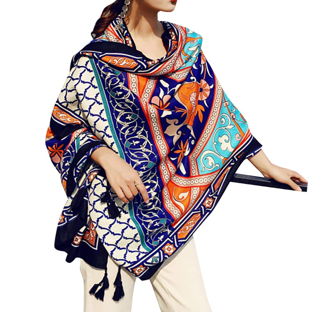 Womens Scarf Wraps Shawl Oversized Bohemian Soft Blanket 75''x 40''-Boho Throw Blanket-Picnic Blanket-Tablecloth,Sheer Gift for Women Girls (TC01)