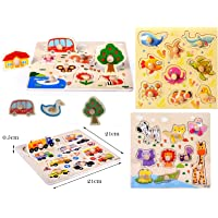 FunBlast (Set of 4 Puzzle Board) Wooden Colorful Learning Educational Board for Kids Set of 4 Puzzle Board Includes Aquatic Animal, Animals, Transport and Pet Animals (Combo of 4)