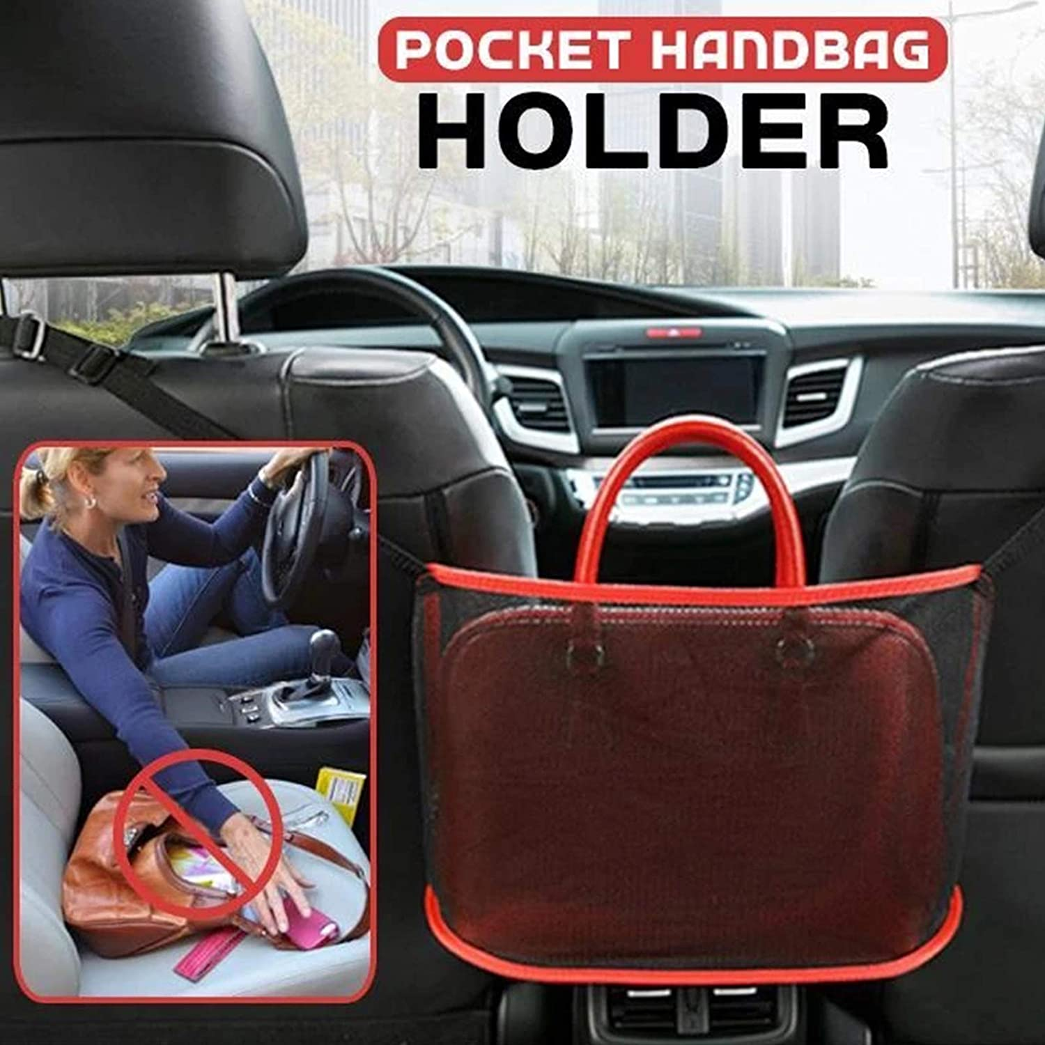 Durable Car Net Pocket Handbag Holder for Handbag Bag Documents Phone Valuable Items SDLAJOLLA Car Net Pocket Handbag Holder