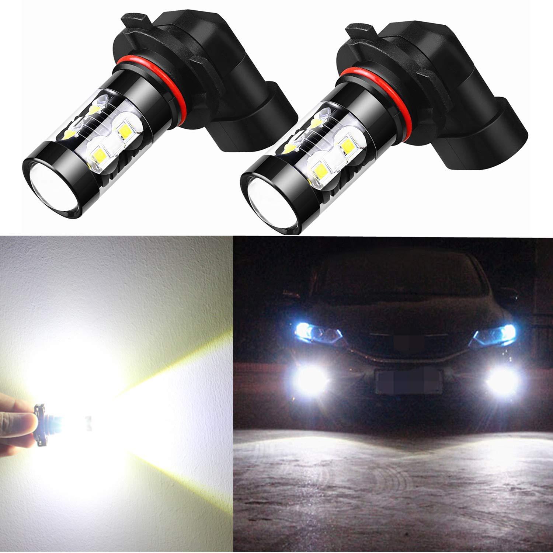 Alla Lighting 9006 LED Fog Light Bulbs Super Bright HB4 9006 LED Bulb High Power 50W 12V LED 9006 Bulb for 9006 Fog Light Bulbs Replacement for Cars, Trucks, SUVs, 6000K Xenon White (Set of 2)