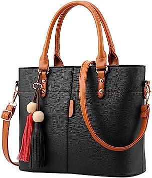 Lady/'s Fashion PU Leather Cross body bags with tassel zip Black Shoulder Handbag