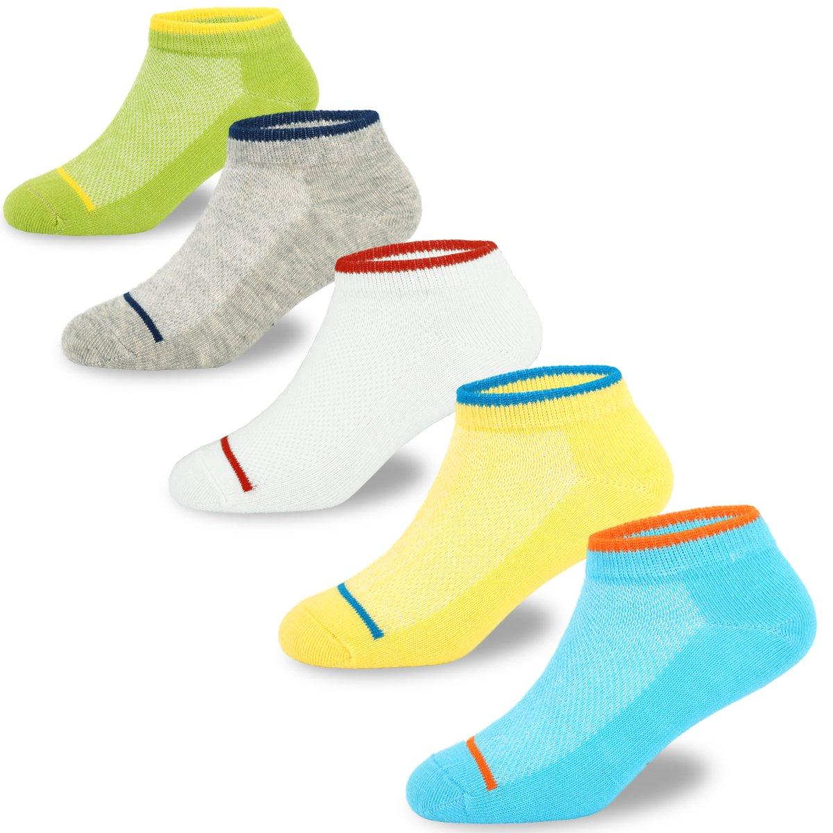 Boys Cotton Socks Kids Summer Breathable Short Socks 5 Pack 8-12 Years
