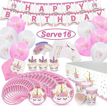 Amazon.com: Pawliss Unicornio suministros de fiesta, sirve ...
