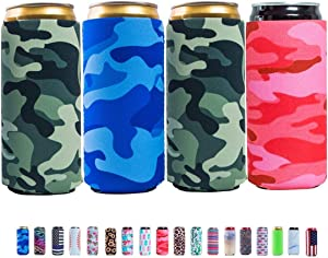 Slim Can Sleeves - Neoprene Bottle Insulator Sleeve Set of 4 Can Beverage Coolers for 12oz Energy Drink & Beer Cans (Camouflage)