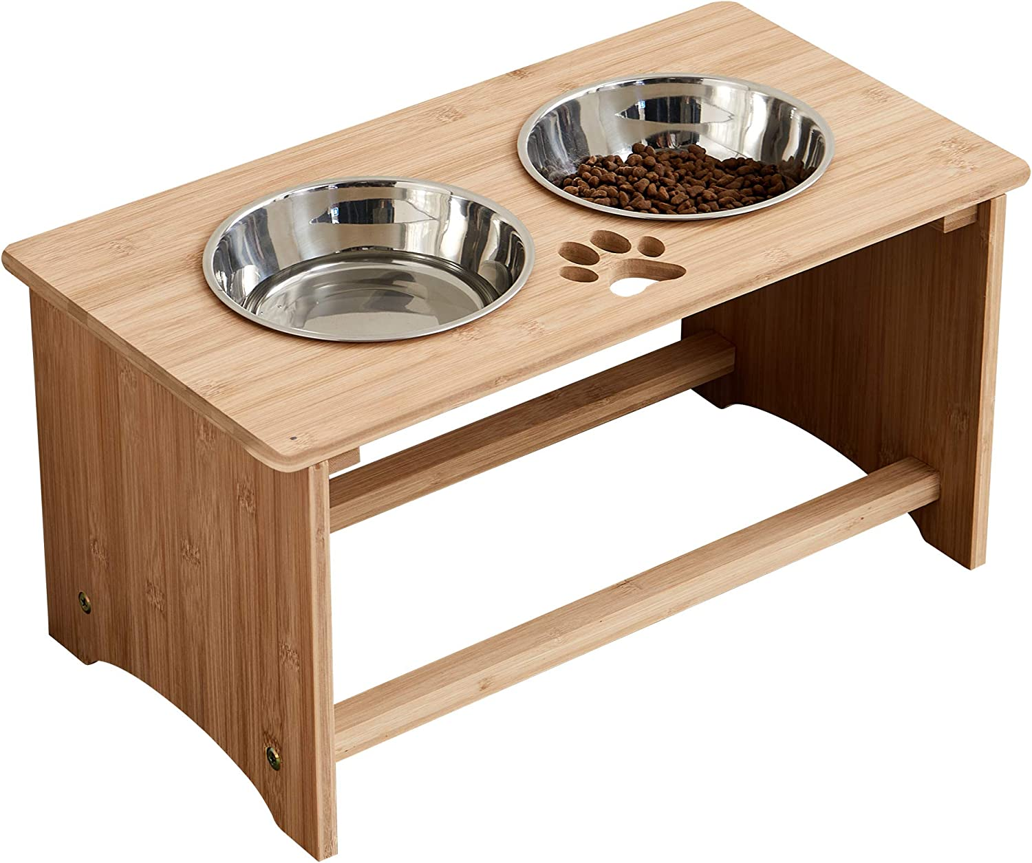 MRECHIR Raised Pet Bowls for Cats and Dogs, Bamboo Elevated Dog Cat Food and Water Bowls Stand Feeder for Small to Large Dogs and Cats(10'' Tall)