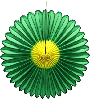 product image for Devra Party 3-Pack 20 Inch Honeycomb Tissue Paper Daisy Fan (Green/Yellow)