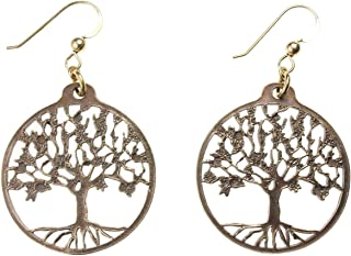 product image for Delicate Tree of Life Peace Bronze Earrings on French Hooks