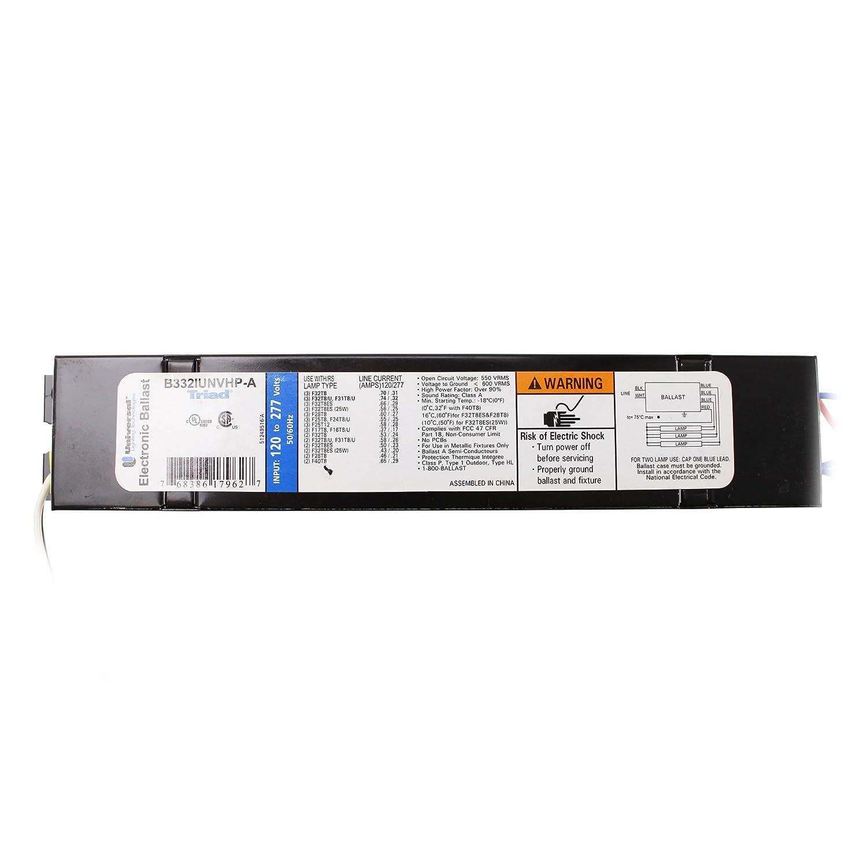 Universal B332IUNVHP-A - 3 Lamp - F32T8-120/277 Volt - Instant Start - 0.88 Ballast Factor Universal Ballast