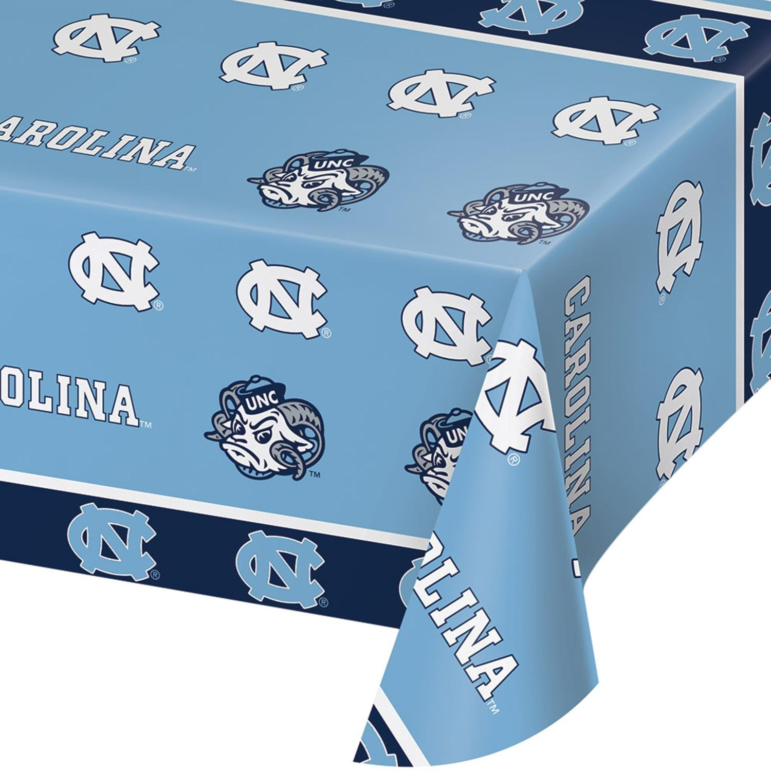 Party Central Club Pack of 12 Blue and White Color Univ of North Carolina Theme Decorative Table cover 108''
