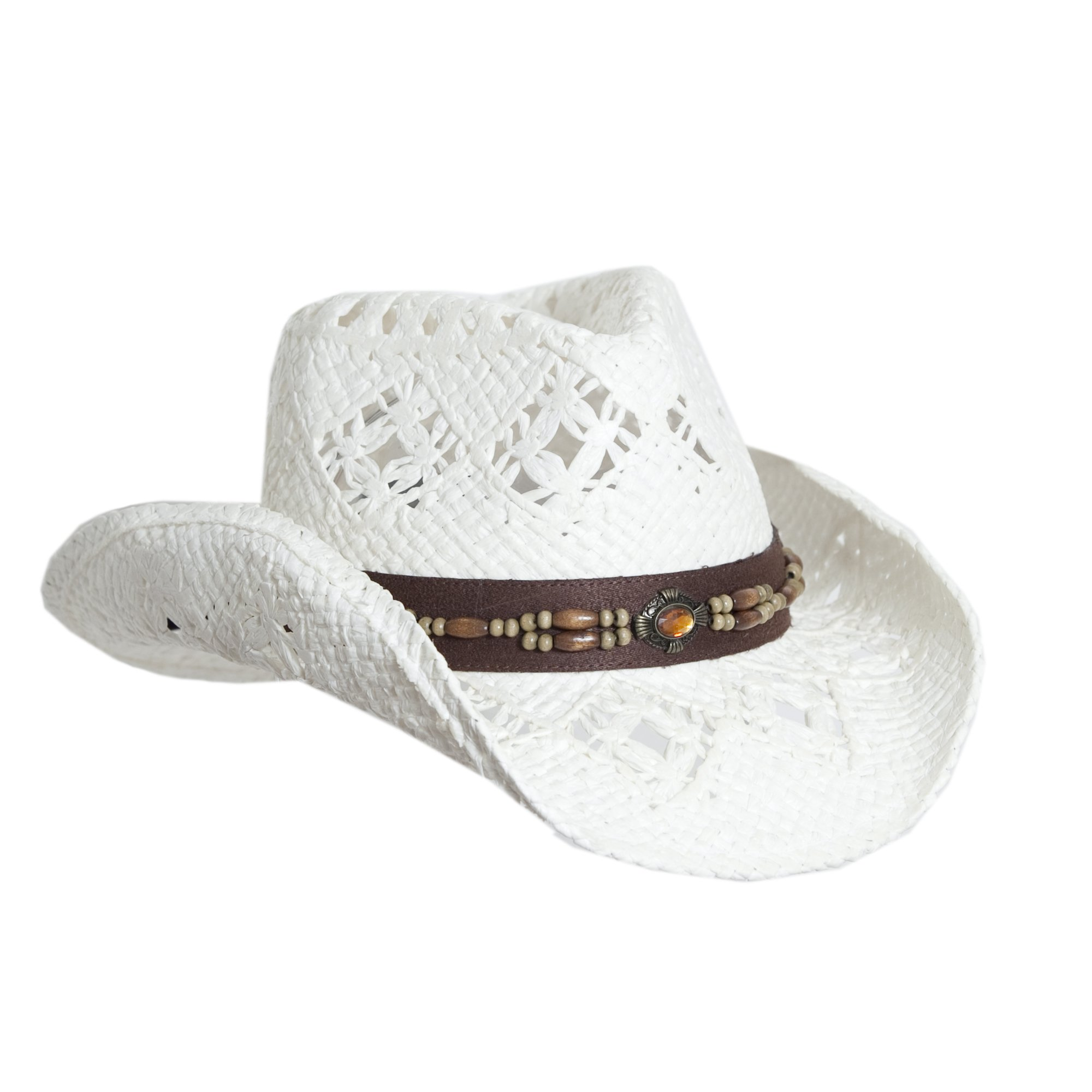 Vamuss White Straw Cowboy Hat W/Vegan Leather Band & Beads, Shapeable Brim