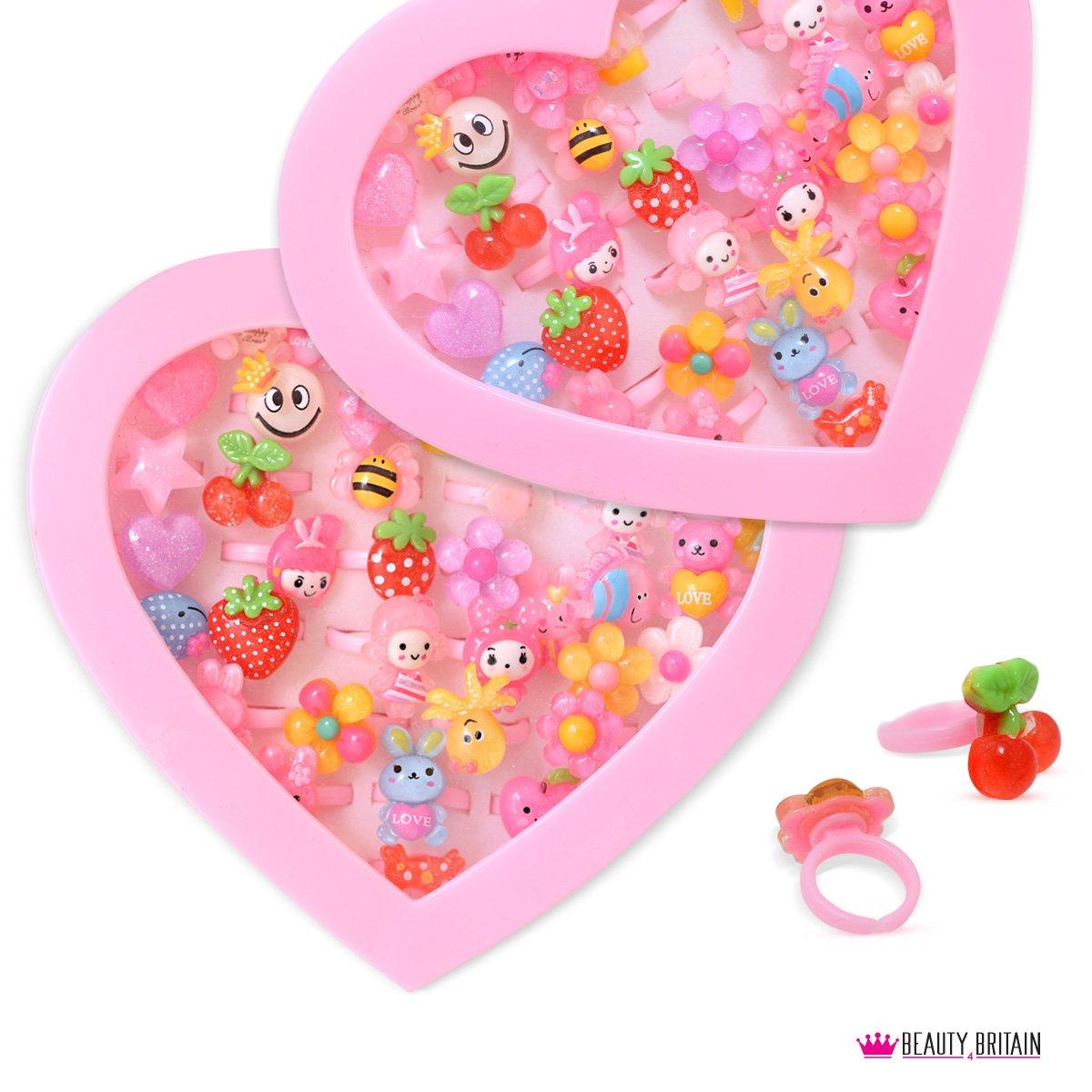 36x Anillos Luxury infantil de joyas Corazón Buzón ajustable tamaño B4B