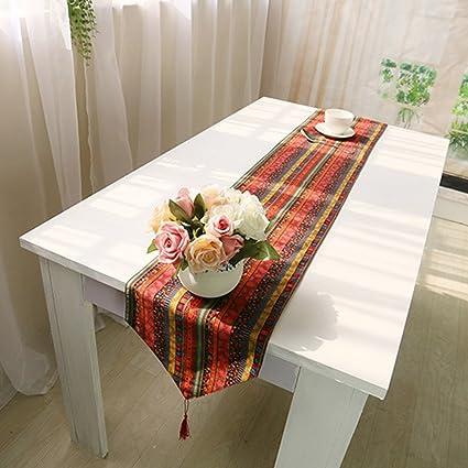 Camino de lino para mesa de comedor, estilo étnico vintage de AIHOME ...