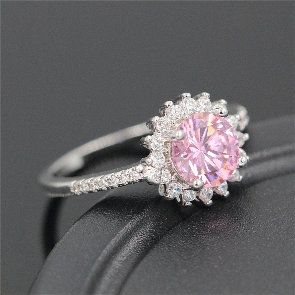 Size 7 Women/'s Pink Sapphire Big Stone Sunflower Ring white Platinum Plated