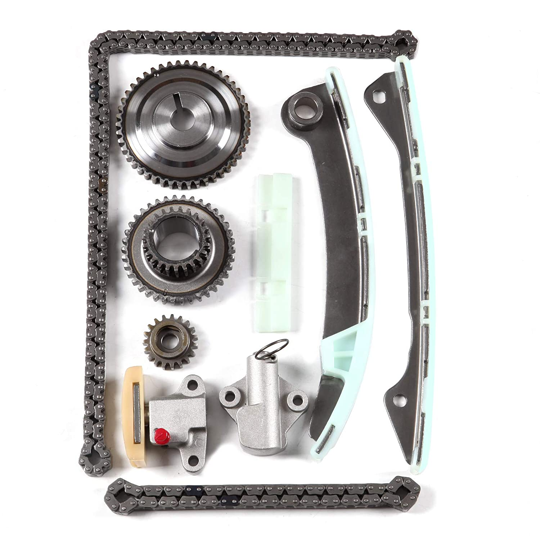 ECCPP 9-0723S Timing Chain Kit Tensioner Guide Rail Crankshaft Sprocket Replacement for 07-09 Nissan Sentra 2.0L Versa Cube 1.8L DOHC