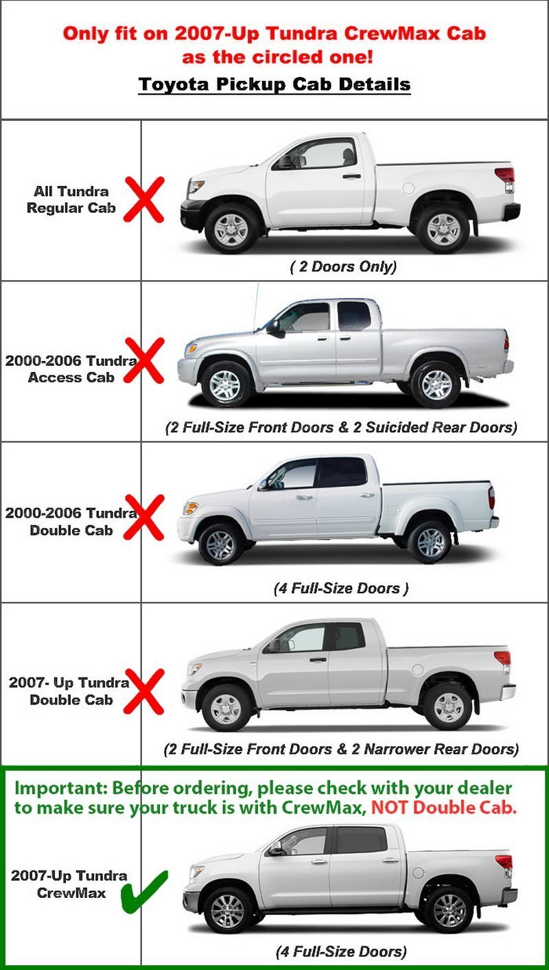 AA Products Running Boards Style E, Textured Black Mounting Brackets Compatible Toyota Tundra CrewMax Cab 2007-2018 Pickup 4DR